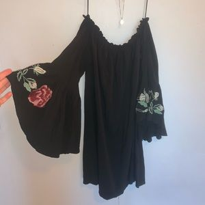 Black Off The Shoulder Embroidered Sleeve Dress